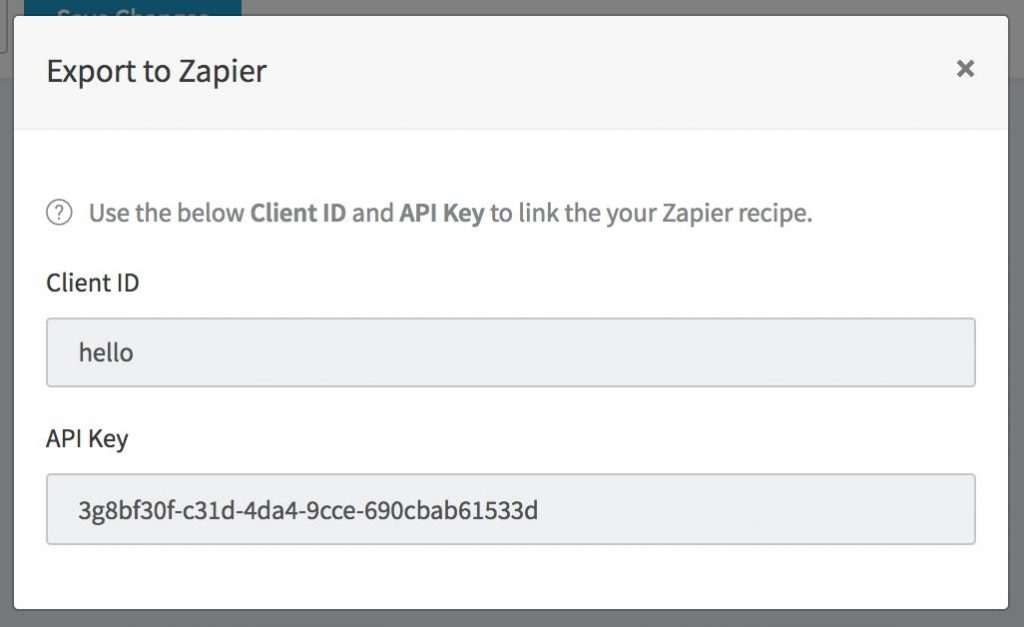Recipe - Export via Zapier